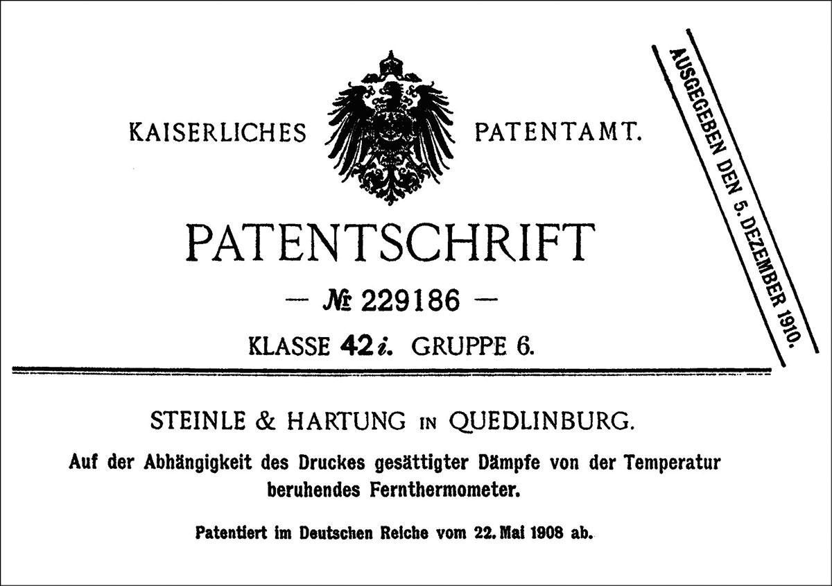 Patent 229186 von 1908, Steinle & Hartung